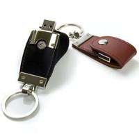 Souvenir Promosi Logo Perusahaan USB Flashdisk Leather Kulit Swivel