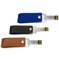 Souvenir Promosi Logo Perusahaan USB Flashdisk Kulit Metal Kunci