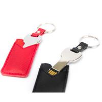 Souvenir Promosi Logo Perusahaan USB Flashdisk Kulit Leather Keychain