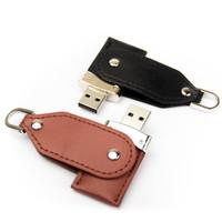 Souvenir Promosi Logo Perusahaan USB Flashdisk Kulit Leather Swivel