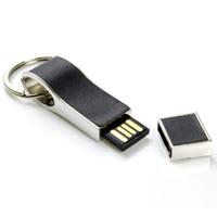 Souvenir Promosi Logo Perusahaan USB Flashdisk Kulit Metal Keychain