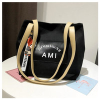 TERLARIS TOTEBAG NEW KOREA SOLID TOTEBAG CANVAS BUCKLED FASHION WANITA - Black