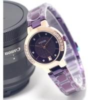 jam tangan wanita ungu berlian samping