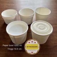 Paper Bowl 1000 ml / Mangkok Kertas + TUTUP (25 set)
