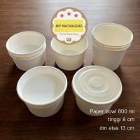 Paper Bowl 800 ml / Mangkok Kertas + TUTUP (25 set)