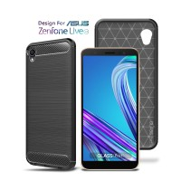 Premium Carbon Case Asus Zenfone Live L1 Black - Soft Case Glass Pro
