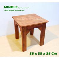 Meja Ngopi Kayu Meranti, Coffee Table, Meja Sudut Serbaguna - [MINGLE]