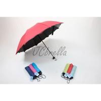Payung Lipat 3D Magic / Dimensi Lapisan Hitam ANTI UV ( Gelombang ) - Hijau Mint