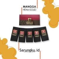 SARUNG MANGGA GOLD POLOS WARNA HITAM SOLID