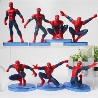 Spiderman Action Figure Set 7pcs Mainan Anak Laki Pajangan Hiasan Kue