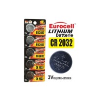 Eurocell Baterai/Battery Lithium CR2032 [ 1strip 5pcs ]