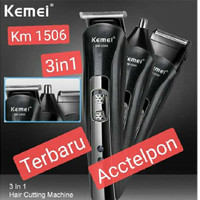 Alat Cukur / Shaver Rambut Jenggot Clipper 3 in1 Kemei KM-1506