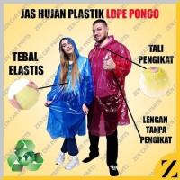 Jas Hujan HDPE Plastik Poncho Ponco Raincoat Travel Ringan Event MURAH