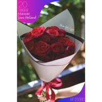 Kado Buket Bunga Mawar Premium 20 Tangkai Semi Holland, Free Paper Bag