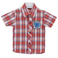 YeGe Kemeja Anak Kecil Merah Garis Biru