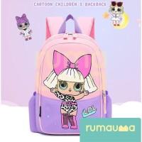 RUMAUMA Kids Backpack LOL Anak Doll Girls Tas Sekolah Besar Cute Murah - RAMBUT DIKUNCIR