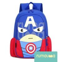 RUMAUMA Captain Amerika Tas Ransel Anak Backpack Sekolah Superhero