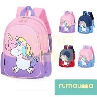 RUMAUMA Unicorn Tas Ransel Anak Sekolah Bag Backpacks Poni Tahan Air