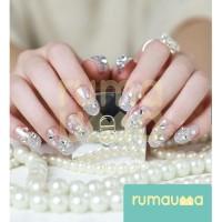 RUMAUMA Mutiara Kuku Palsu Cantik Pearl Bridal Pengantin Fake Nail Art