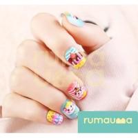 RUMAUMA Fake Nails Anak 10 Tip Kuku Palsu Manicure Tool Nail Art Cute