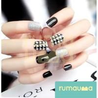 RUMAUMA Fake Nails Pattern Kuku Palsu Nail Art Wedding Pesta Wanita