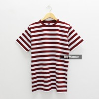Eco Soft Kaos Polos Stripe Big Maroon Cotton 30s Sejuk