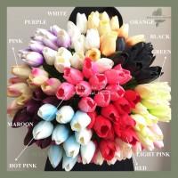 Artificial Flower Tulip Latex Bunga Palsu Artifisial Dekorasi Kantor - Hitam