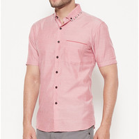 Odza Classic Chambray Lengan Pendek Shirt List Light Pink BA - M