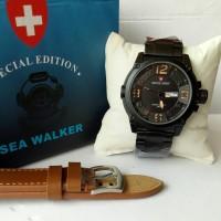 Jam Tangan Couple Swiss Army SA7169 Paket Tali Coklat Muda