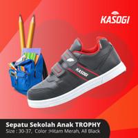 Kasogi Sepatu Sekolah Casual Anak Unisex Trophy - hitam hitam, 37