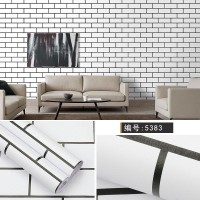 Home Wallpaper Sticker Dinding Putih Bata List Hitam - 45cm x 10 m