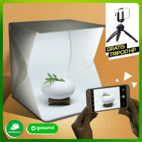 Mini Photo Studio Box Portable + Lampu LED - Foto Produk