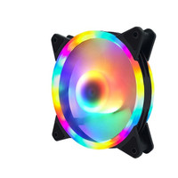 Kipas 12CM PC case 2ring cpu led Fan Multi colour RGB untuk pendingin