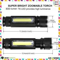 Senter LED Mini USB 2300 Lumens Lampu Baca Senter Magnet Anti Air