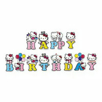 banner bunting flag happy birthday hello kitty