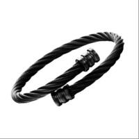 Gelang Pria Black Celtic Bangle Cuff Bracelet Titanium Steel - Hitam