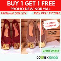 Buy 1 Get 1!!! Sepatu Jelly Wanita Sepatu Flat Shoes Anak dan Dewasa - Merah, 36