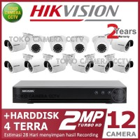 PAKET CCTV HIKVISION 2MP 16 CHANNEL 12CAMERA HDD 4TB