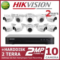 PAKET CCTV HIKVISION 2MP 16 CHANNEL 10CAMERA HDD 2TB