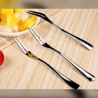 Garpu Kecil Stainless Garpu Kue Buah Dessert - Stainless Steel