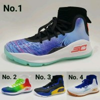 Sepatu Basket Under Armour Curry 4 Black White Light Blue Stephen