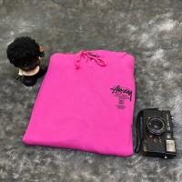 Stussy Wide World Tour Pink Hoodie Sweatshirt