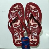 Sandal Jepit Teplek Karet Harian Wanita Dewasa Glanzton motif kitty - Maroon 37
