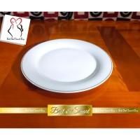 JM Piring Makan Ceper Porselen Keramik Putih 10 inch / 25.5 cm lis mas