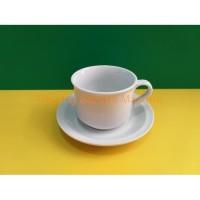 JM Cangkir gelas set Keramik putih 12 pcs 230 ml POLOS MIRIP NIKURA