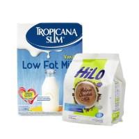 Tropicana Slim Susu Low Fat Vanilla 500 gr & Hilo Active Belgian