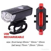 ONE SET - LAMPU DEPAN DAN BELAKANG SEPEDA USB RECHARGEABLE CAS