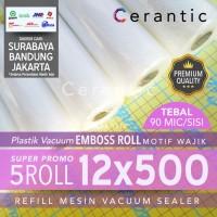 Plastik Vacuum Emboss ROLL 12x500 cm Super Promo isi 5 roll