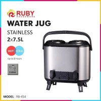 Termos dispenser panas dingin Water Jug Stainles 15 liter 7.5+7.5 Ruby