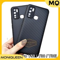 Case Vivo Y50 Y30 Y30i Luxury CARBON FIBER Soft Case Casing Handphone